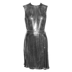 Gianni Versace silver Oroton metal chainmail bodysuit and skirt, fw 1994