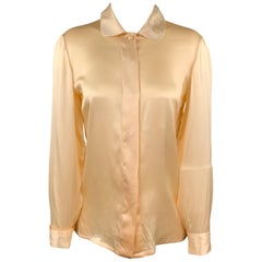 GIANNI VERSACE Size 4 Nude Satin Silk French Cuff Blouse