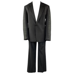 GIANNI VERSACE Size 42 Black Embroidered Sleeve Wool Peak Lapel Tuxedo Suit