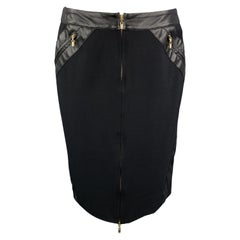 GIANNI VERSACE Size 6 Black Wool Blend Leather Trim Zip Up Pencil Skirt
