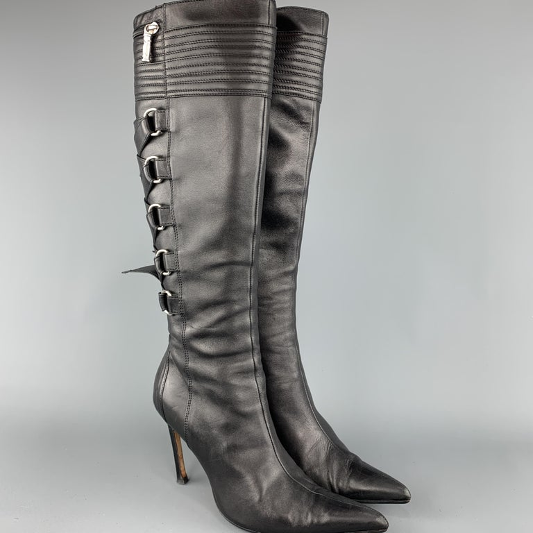 GIANNI VERSACE Size 8 Black Corset Back Pointed Knee High Boots In Excellent Condition For Sale In San Francisco, CA