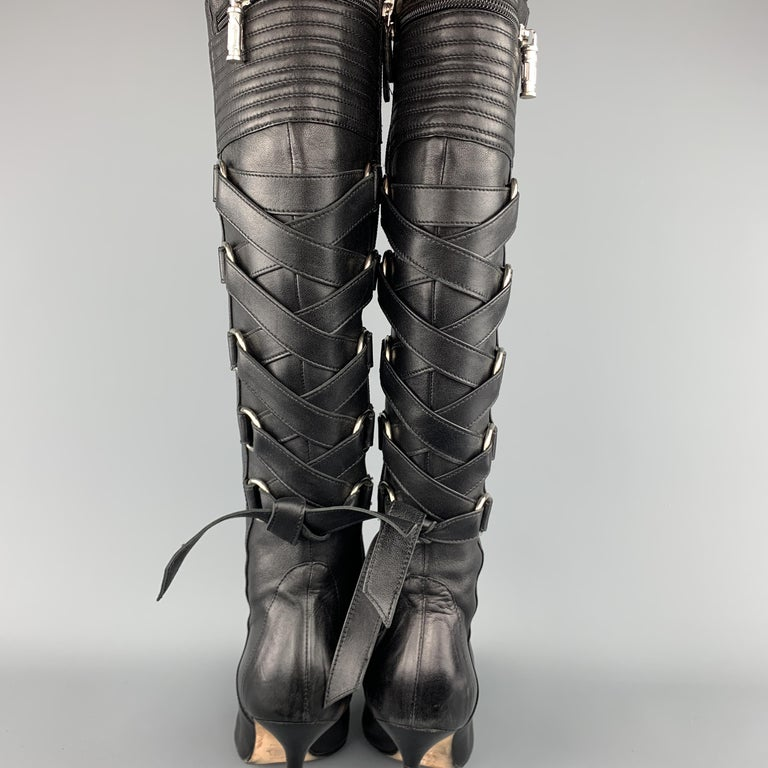 GIANNI VERSACE Size 8 Black Corset Back Pointed Knee High Boots For Sale 2