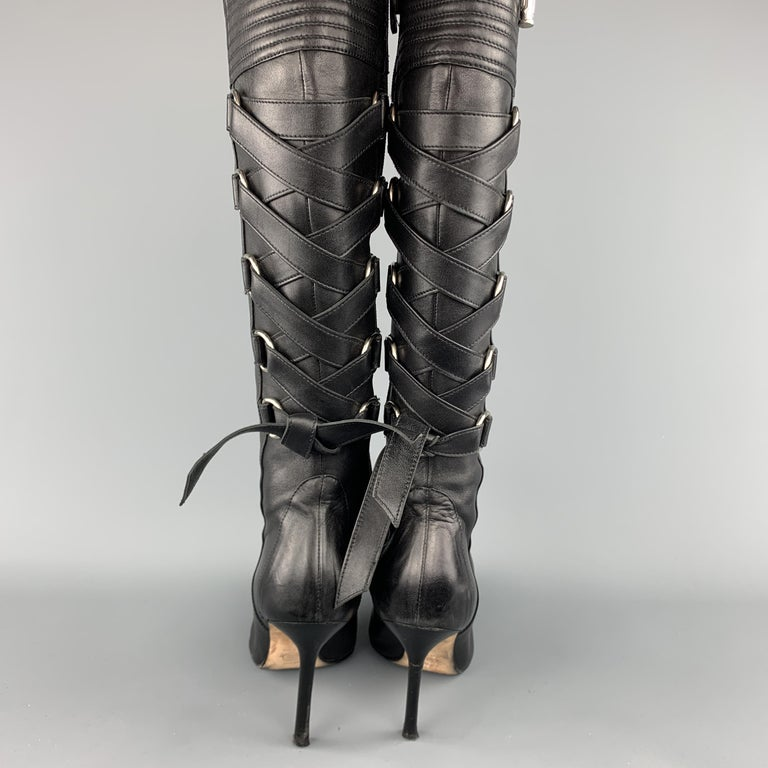 GIANNI VERSACE Size 8 Black Corset Back Pointed Knee High Boots For Sale 3