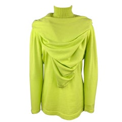GIANNI VERSACE Size L Lime Green Wool Cape Overlay Turtleneck Sweater