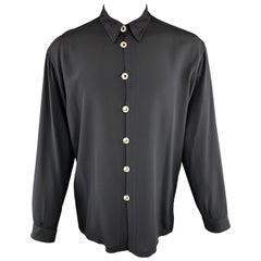 GIANNI VERSACE Size M Black Silk Rhinestone Medusa Hook Shirt