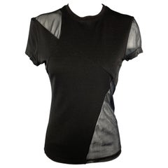 GIANNI VERSACE Size S Black Mesh Panel T Shirt