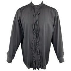 GIANNI VERSACE Size S Black Silk Band Collar Ruffle Placket Tuxedo Shirt