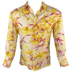 GIANNI VERSACE Size S Pink & Yellow Bamboo Print Silk Button Up Long Sleeve Shir