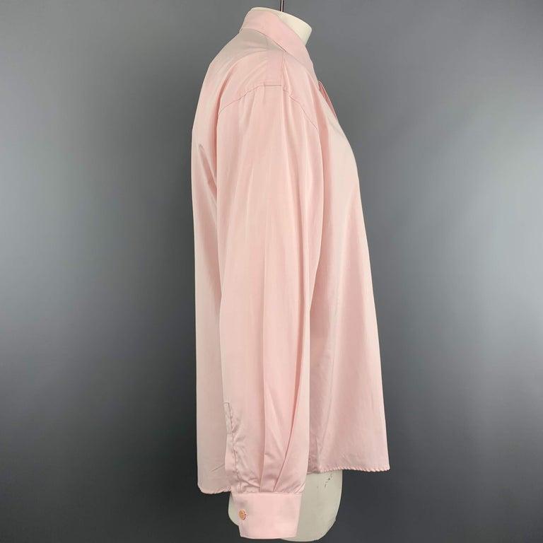 Beige GIANNI VERSACE Size XL Light Green Cotton Hidden Buttons Long Sleeve Shirt For Sale