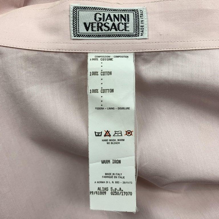 Men's GIANNI VERSACE Size XL Light Green Cotton Hidden Buttons Long Sleeve Shirt For Sale