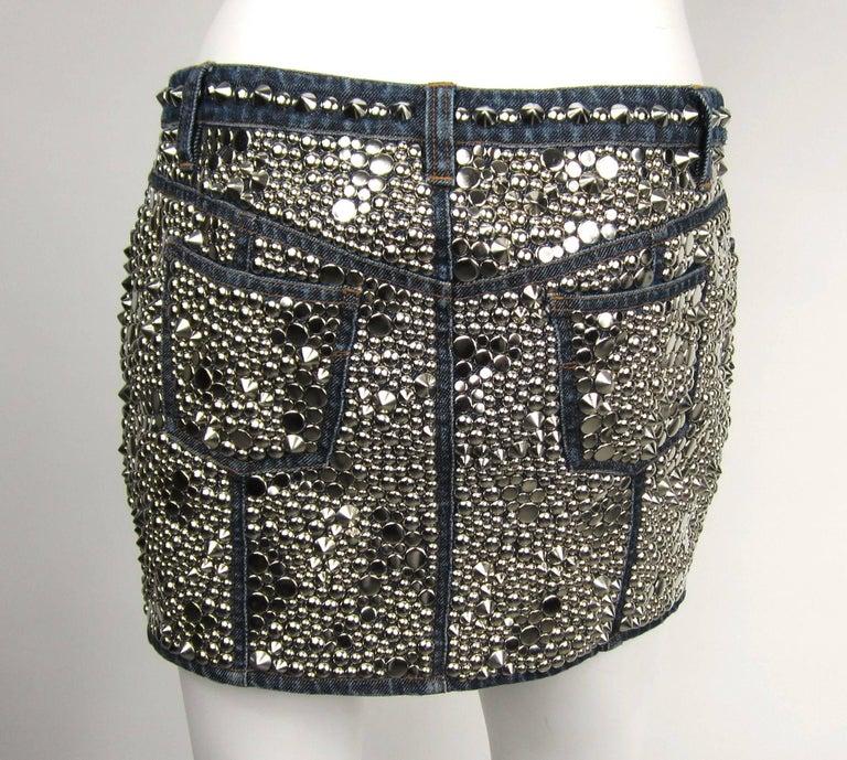 Women's  Gianni Versace Skirt Studded Denim Mini 1990s For Sale