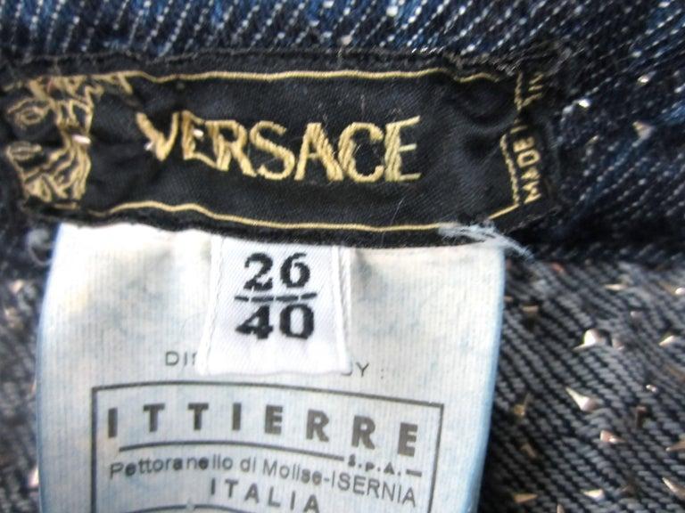 Gianni Versace Skirt Studded Denim Mini 1990s For Sale 1