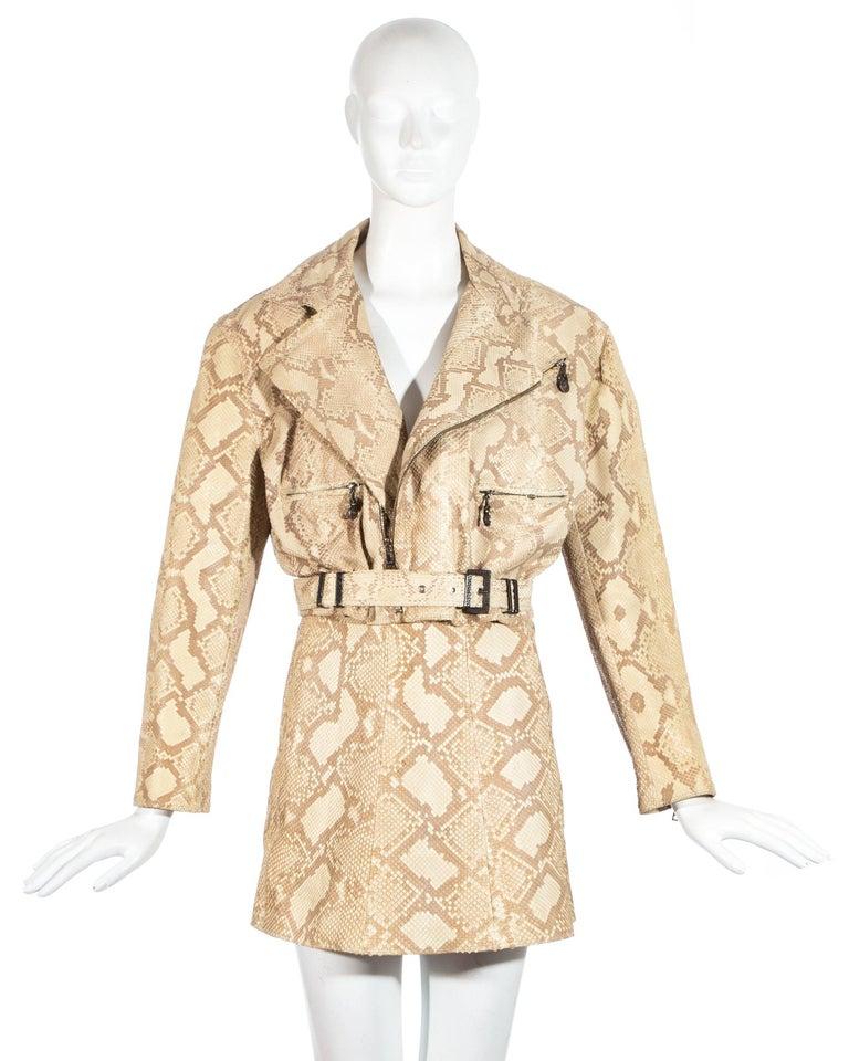 f16c4dfd21 Gianni Versace Snakeskin leather biker jacket and mini skirt set, fw 1994