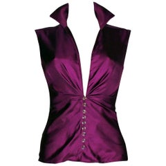 Gianni Versace SS 2000 Jungle Purple Hot Silk Blouse Top with Swarovski Buttons