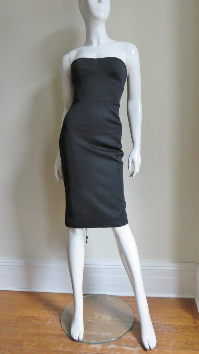Gianni Versace Strapless Lace Up Back Dress For Sale 5