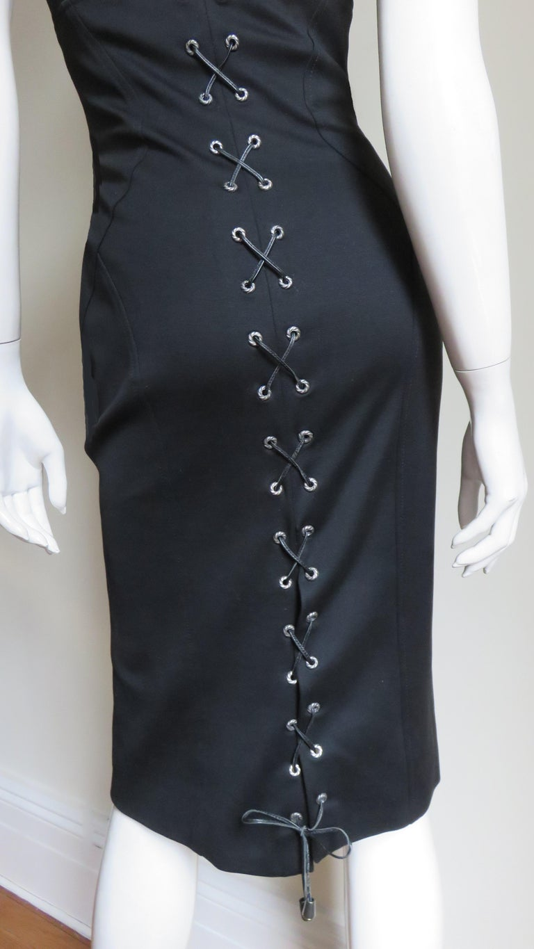 Gianni Versace Strapless Lace Up Back Dress For Sale 9