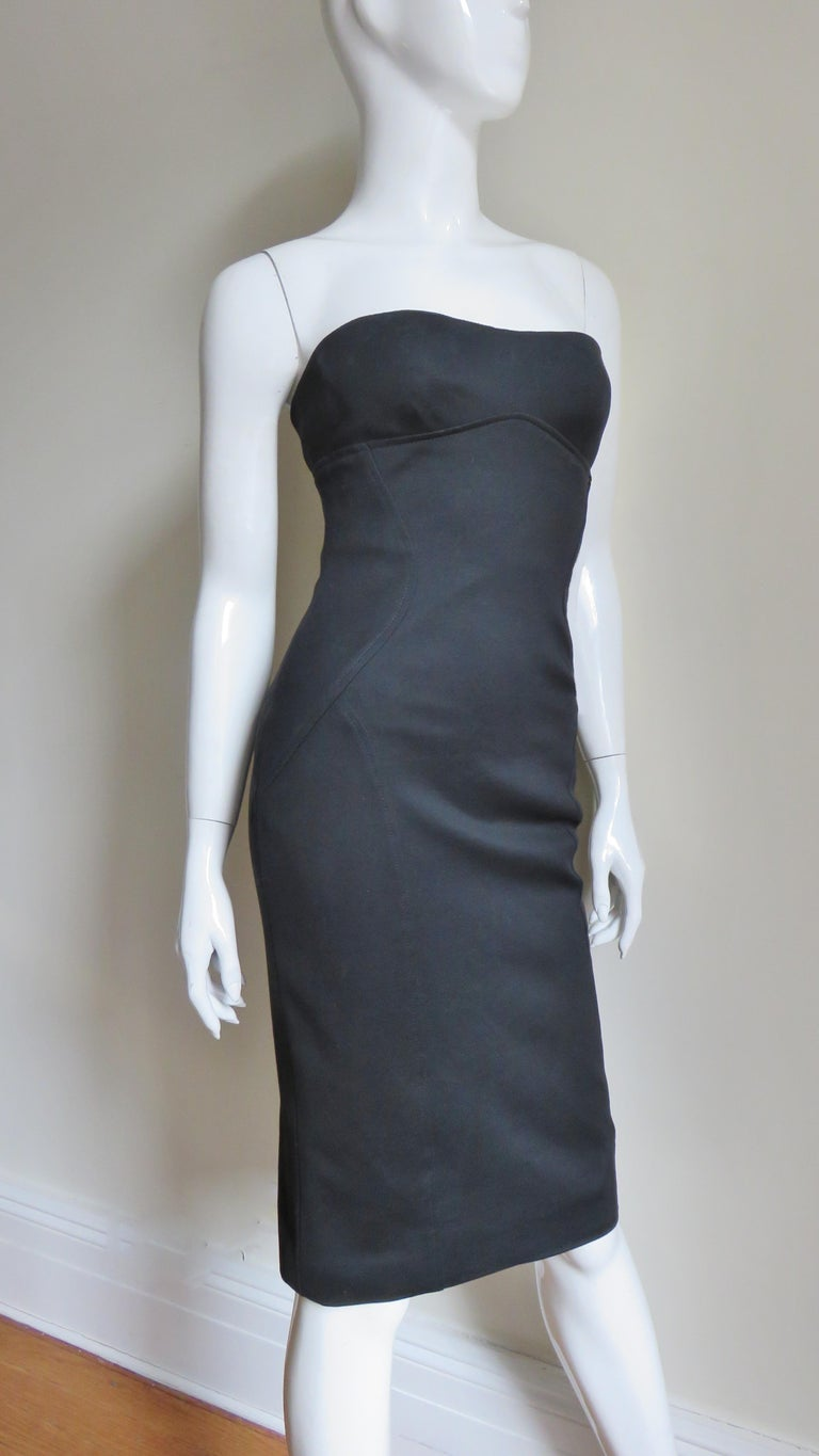Gianni Versace Strapless Lace Up Back Dress For Sale 2