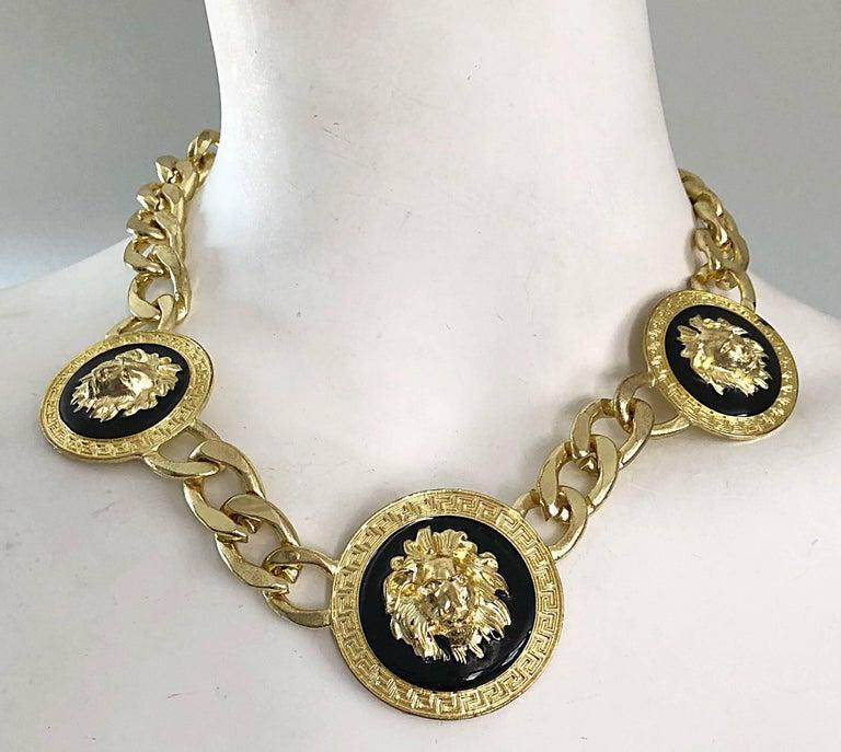 Gianni Versace Style 1990s Gold Black Medusa Lion Head