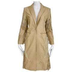 Gianni Versace Tan Cream Suede Leather Fringe Coat