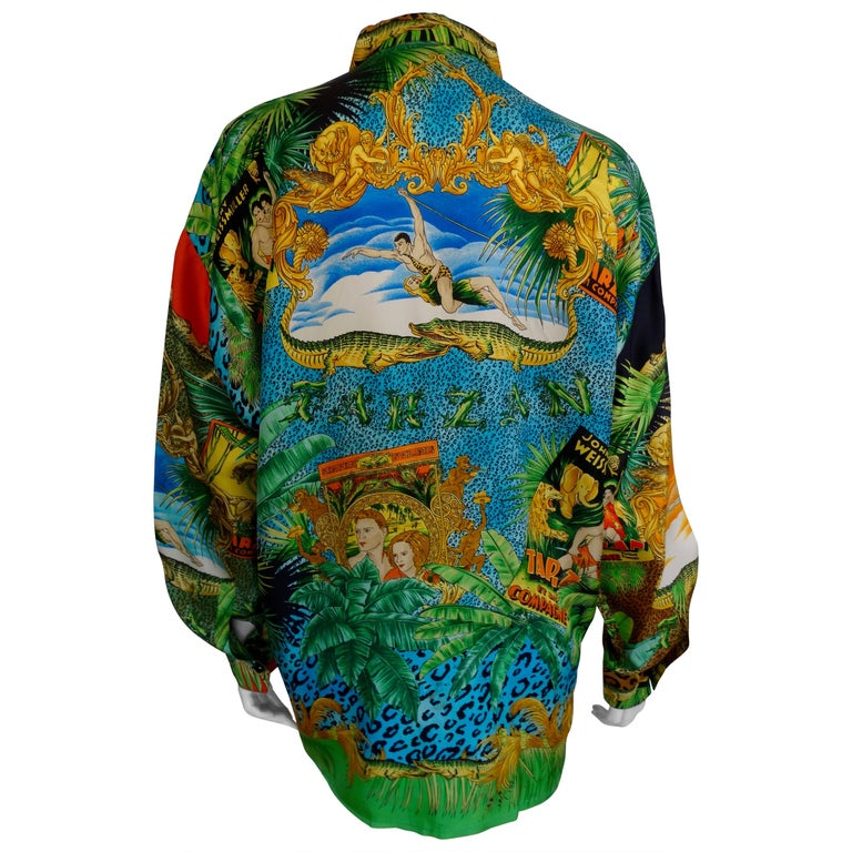 "Gianni Versace ""Tarzan"" Printed Silk Shirt  For Sale"