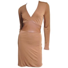 Gianni Versace Toffee Silk Dress with Leather Waist