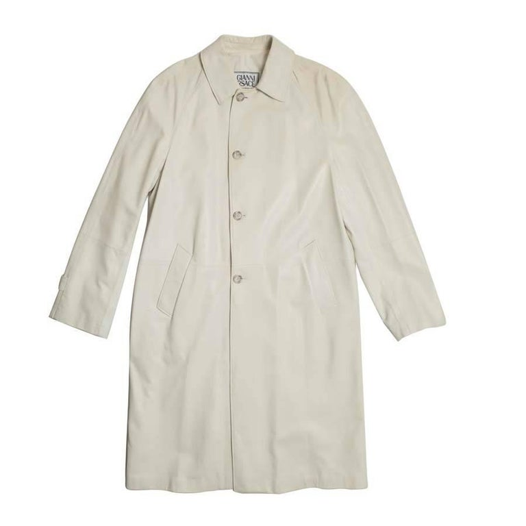 GIANNI VERSACE Trench Coat in Light Beige Wool Size 48 IT