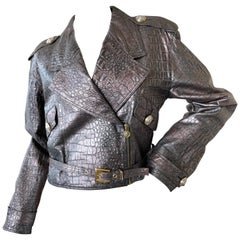 Gianni Versace Versus 1990 Gunmetal Gray Alligator Embossed Leather Moto Jacket
