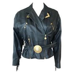 Gianni Versace Versus c. 1990 Bondage Leather Belted Fringe Black Jacket Coat