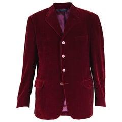 Gianni Versace Versus Men's Dark Red Velvet Vintage Blazer Jacket, 1990s