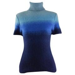 Gianni Versace Versus Mohair & Merino Wool Roll Neck Blue Short Sleeve Sweater
