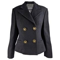 Gianni Versace Versus Vintage Black Wool Tweed Jacket