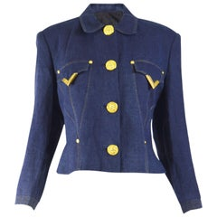 Gianni Versace Versus Vintage Blue Linen Jacket