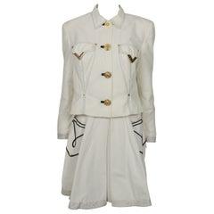 Gianni Versace Versus Vintage White Jacket & Skirt Ensemble with Western Details
