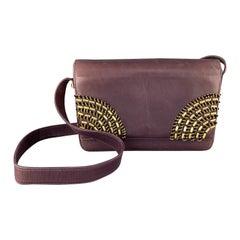 GIANNI VERSACE Vintage 1980's Gold Beaded Purple Leather Shoulder Bag