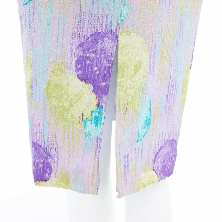 GIANNI VERSACE Vintage 1990s abstract floral print chain trim crop top skirt XS For Sale 6