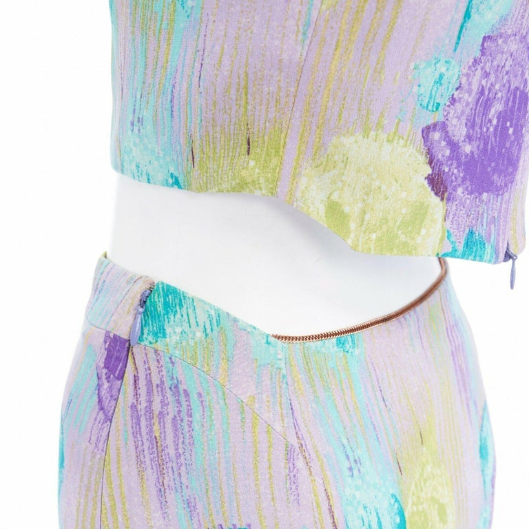 GIANNI VERSACE Vintage 1990s abstract floral print chain trim crop top skirt XS  GIANNI VERSACE FROM THE 90'S 100% silk . Lilac purple base . Abstract floral, dripped paint effect purple, lime green and teal blue print throughout . Angular wide