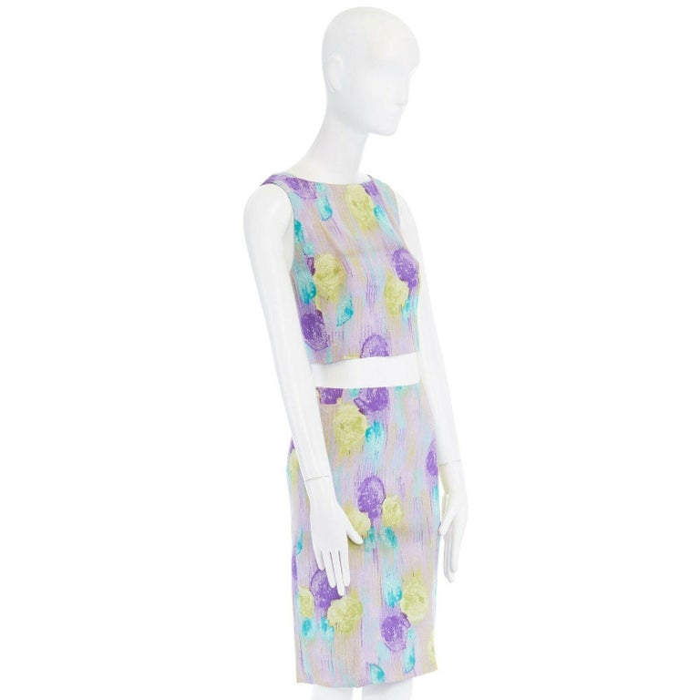 GIANNI VERSACE Vintage 1990s abstract floral print chain trim crop top skirt XS For Sale 1
