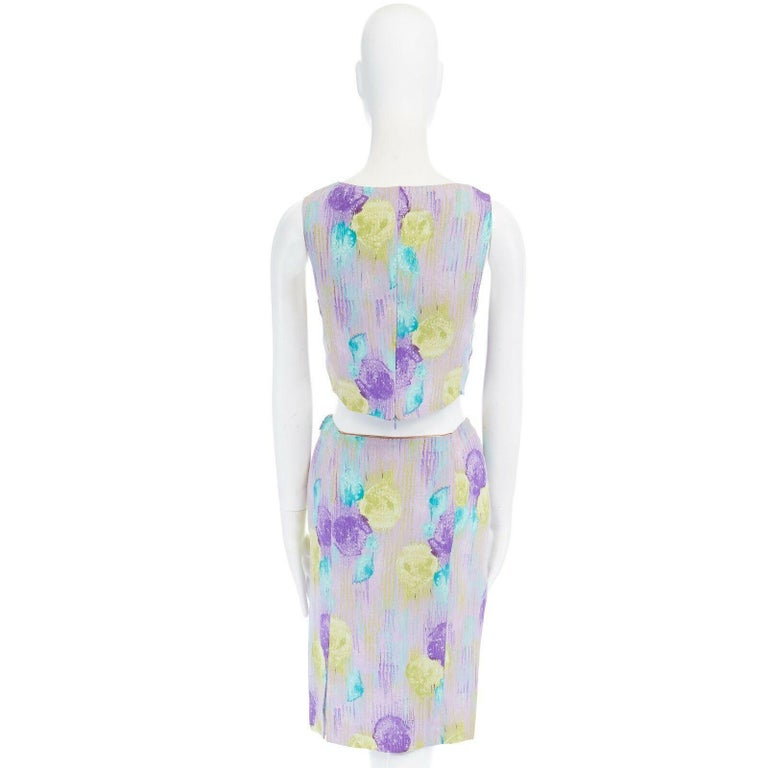 GIANNI VERSACE Vintage 1990s abstract floral print chain trim crop top skirt XS For Sale 3