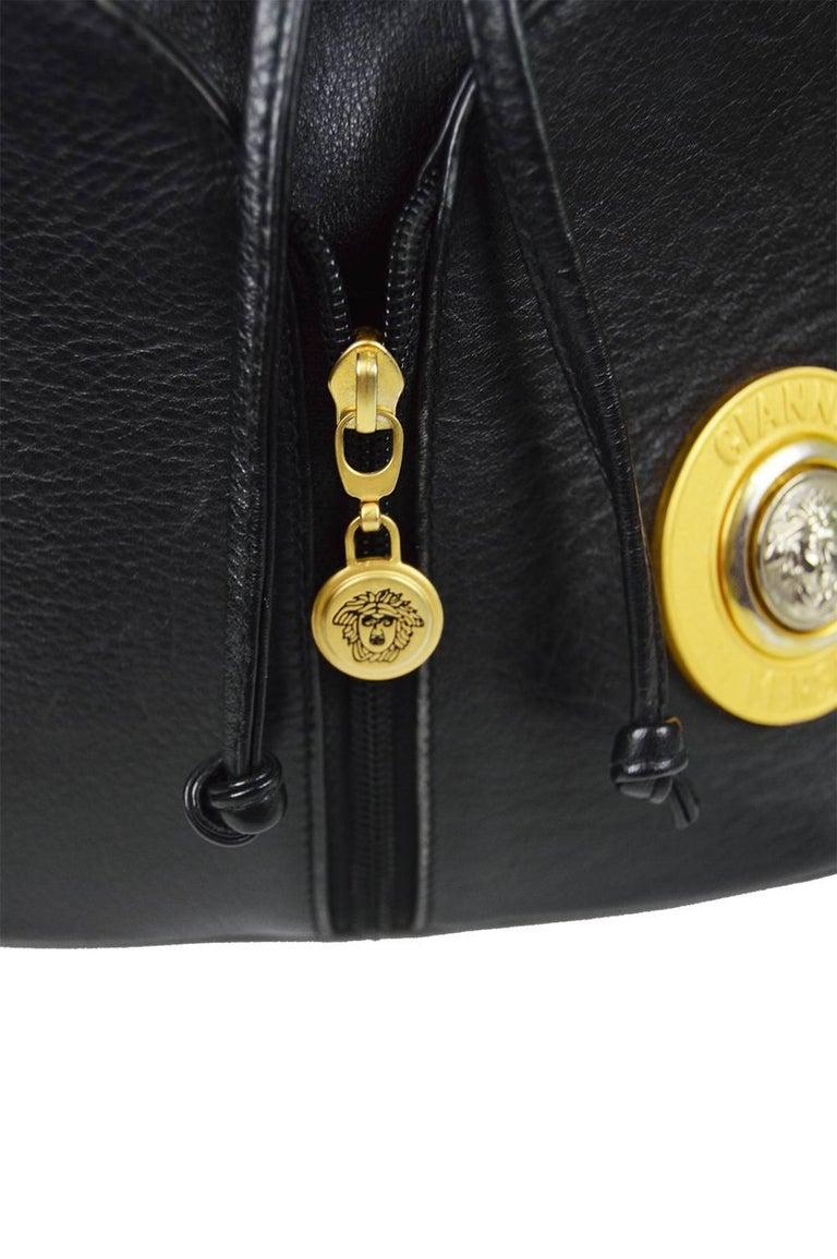 ec4ebc81449 Women's Gianni Versace Vintage 1990s Black Leather Gold & Silver Drawstring Shoulder  Bag For Sale