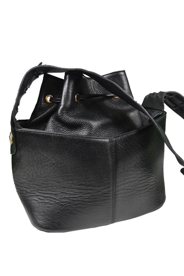 Gianni Versace Vintage 1990s Black Leather Gold And Silver Drawstring Shoulder Bag At