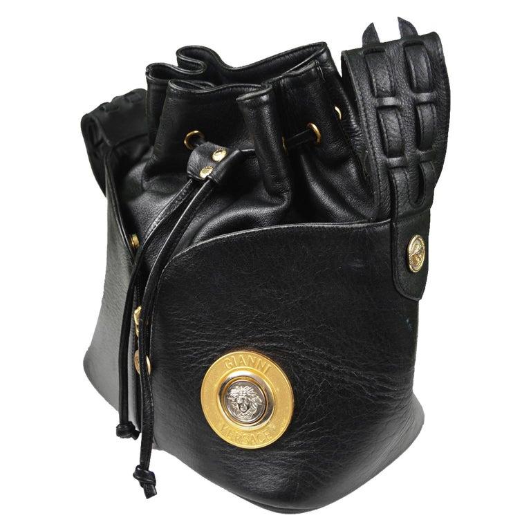 Gianni Versace Vintage 1990s Black Leather Gold Silver Drawstring Shoulder Bag