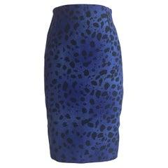 Gianni Versace Vintage 1990s Blue and Black Leopard Print Pencil Skirt