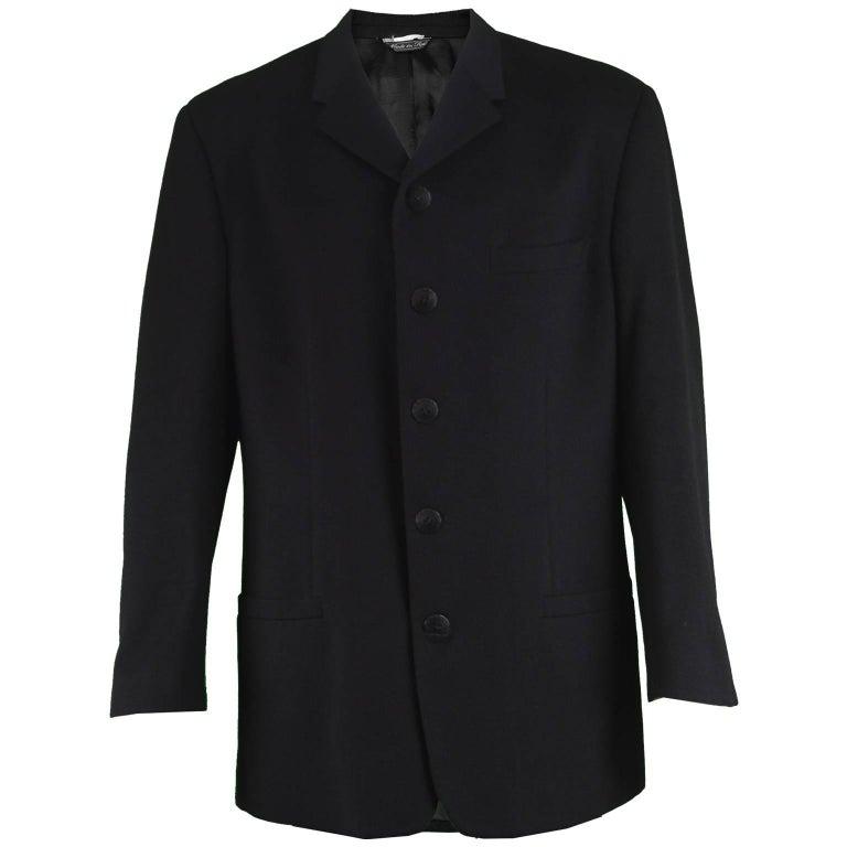 Gianni Versace Vintage Men's Black Wool Five Button Blazer Jacket, 1990s