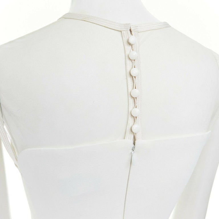 GIANNI VERSACE VINTAGE 1996 white crepe sheer mesh illusion party dress IT40 S 5