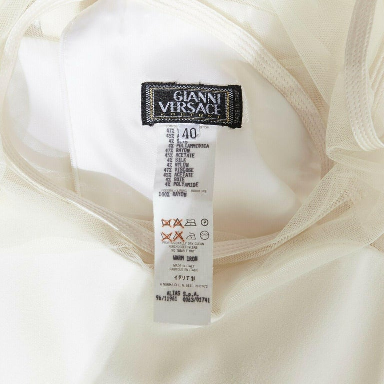 GIANNI VERSACE VINTAGE 1996 white crepe sheer mesh illusion party dress IT40 S 6
