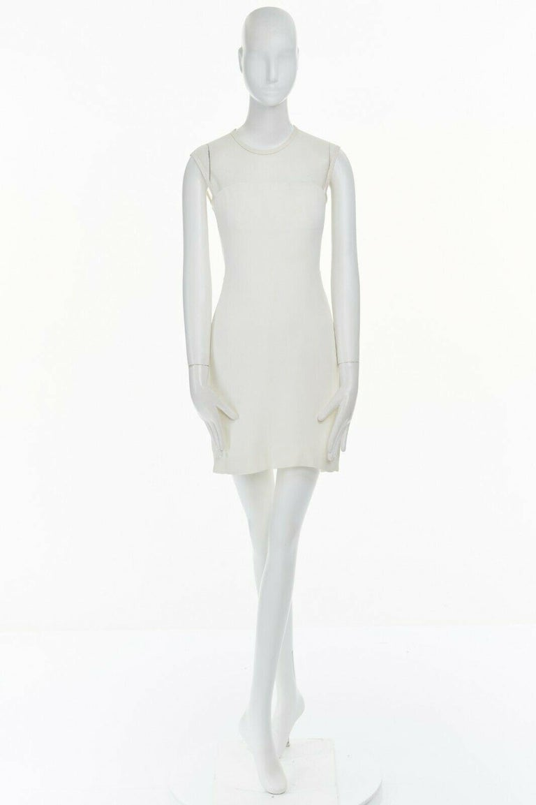 Gray GIANNI VERSACE VINTAGE 1996 white crepe sheer mesh illusion party dress IT40 S