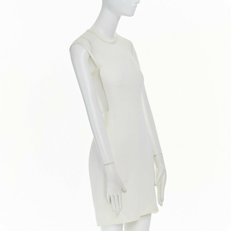 GIANNI VERSACE VINTAGE 1996 white crepe sheer mesh illusion party dress IT40 S In Excellent Condition In Hong Kong, NT