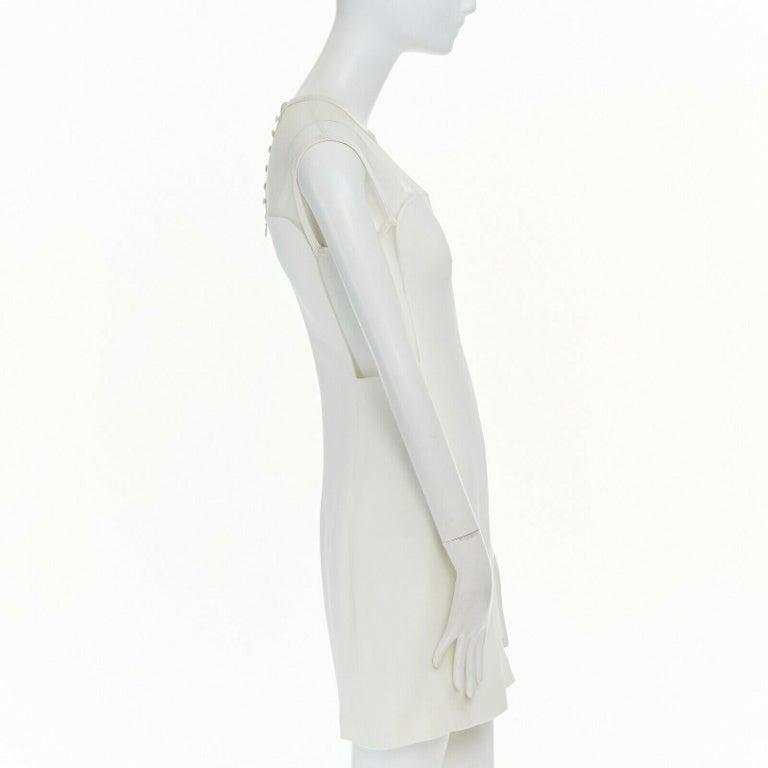Women's GIANNI VERSACE VINTAGE 1996 white crepe sheer mesh illusion party dress IT40 S