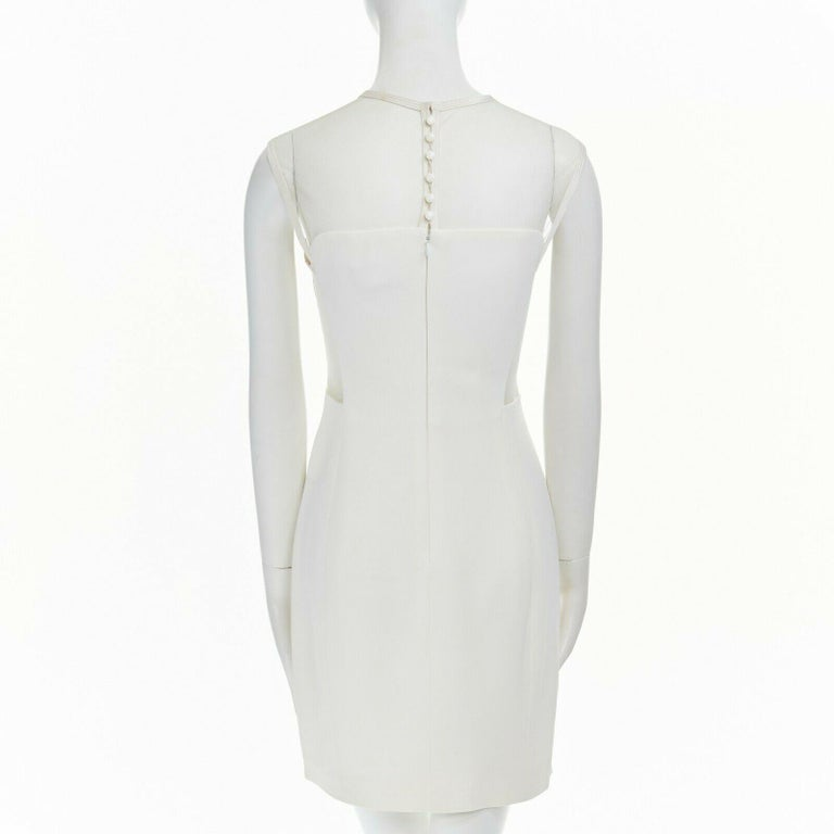 GIANNI VERSACE VINTAGE 1996 white crepe sheer mesh illusion party dress IT40 S 1