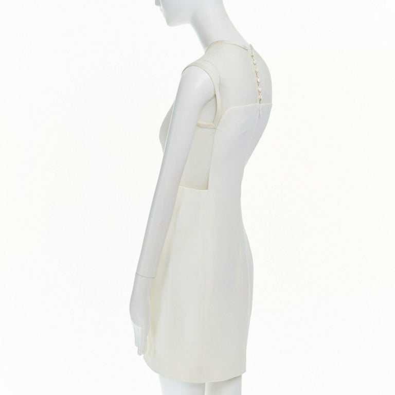 GIANNI VERSACE VINTAGE 1996 white crepe sheer mesh illusion party dress IT40 S 2